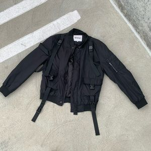 BLACK BOMBER JACKET WITH STRAPS SIZE SMALL